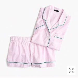 J crew tipped pajama set in pink stripe
